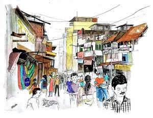 Busy Cityscape - old Pune - small