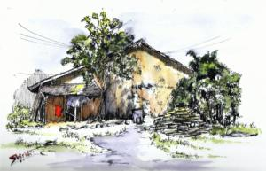 old house-fude pen-color